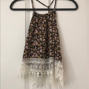 Floral with lace tank top